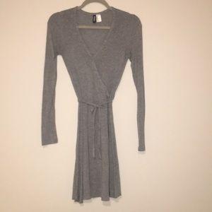 Long sleeve gray wrap dress